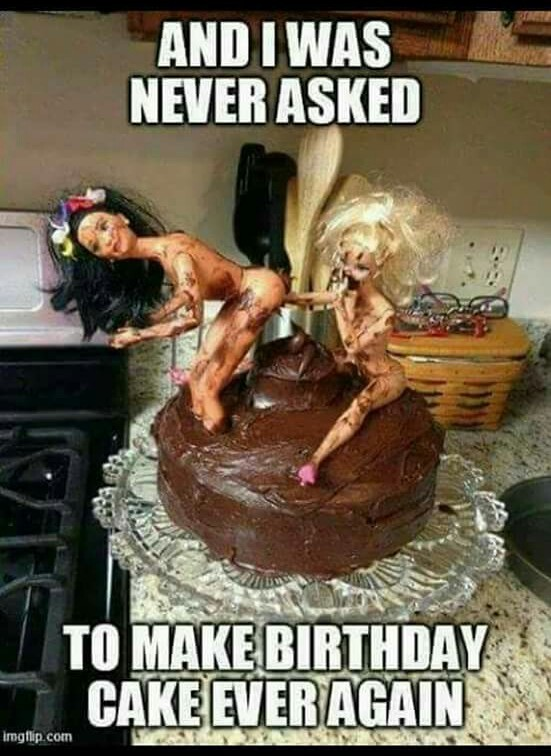Two barbies one cake - meme