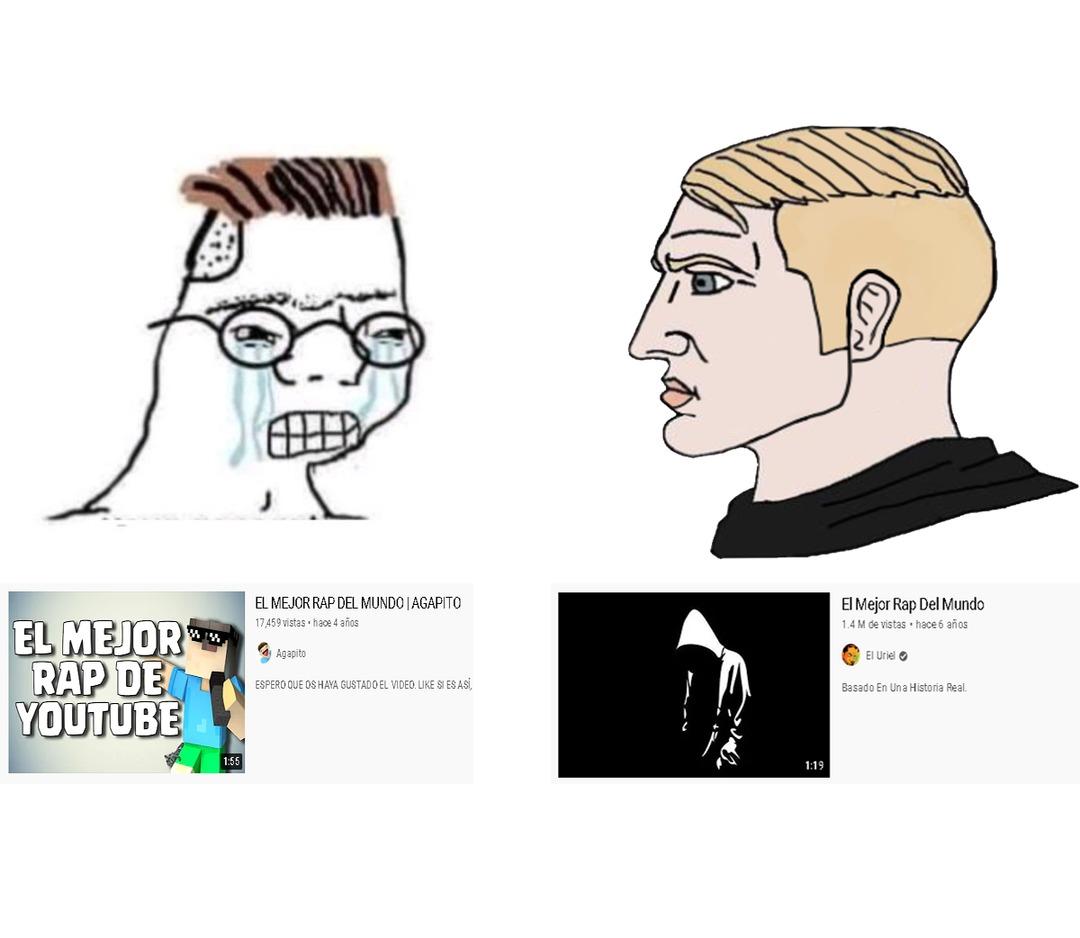 """Contexto: El tal agaPITO es un amigo del mierdacrack y tiene una canción llamada """"El mejor rap del mundo"""", pero URIGOD (El Uriel) hizo una antes y es mil veces mejor. - meme"""