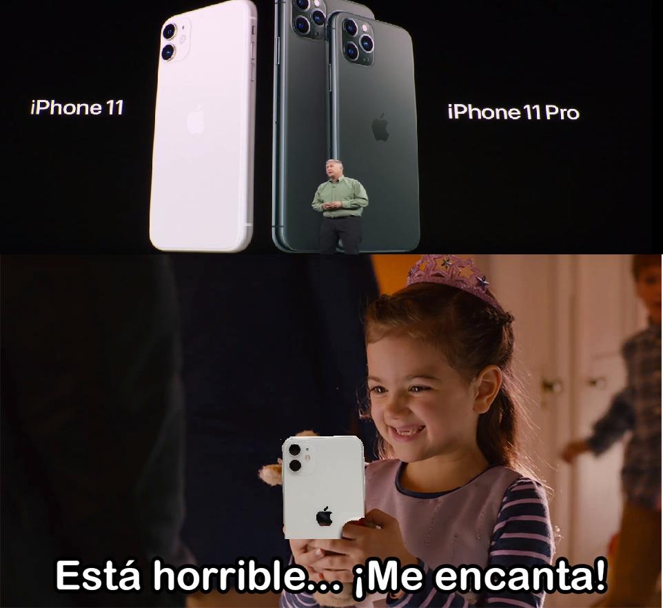 el nuevo diseño  del iphone 11 - meme