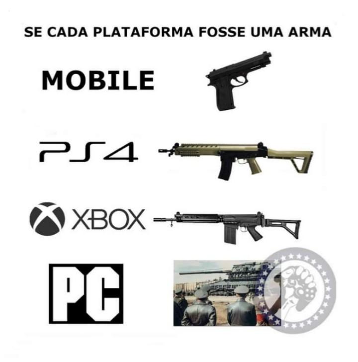 Se cada plataforma fosse uma arma - meme