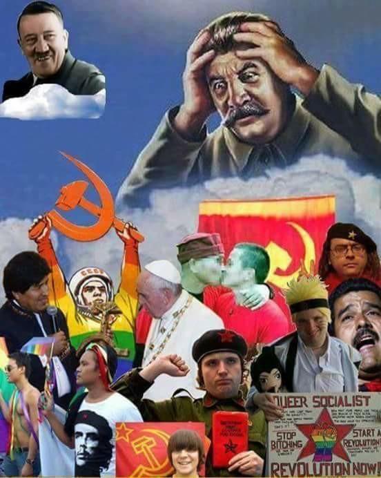 F por Stalin, debe estar retorciendose en su tumba viendo a los comunistas de hoy en dia - meme