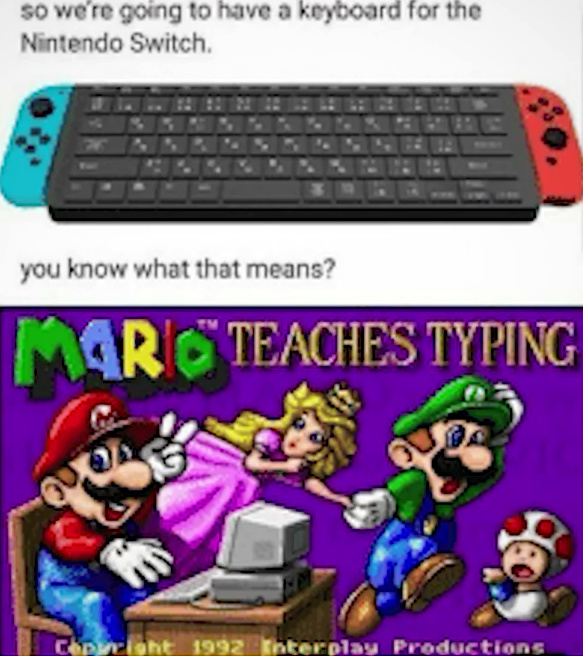 Mario teaches typing - meme