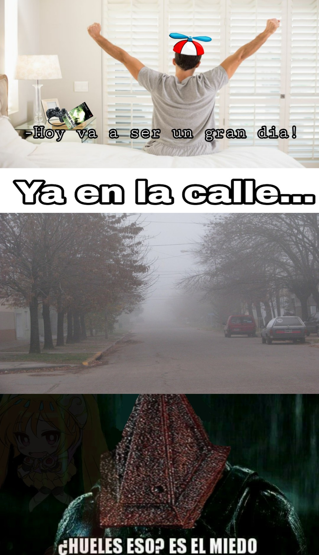 Habia niebla cuando me levante para ir al colegio y pense en esto - meme