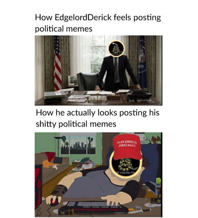 Edgelord Derick is a pussy - meme