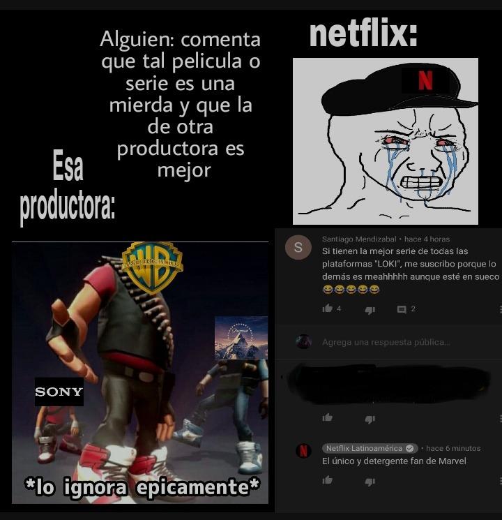 El canal de youtube de netflix latinoamerica parece que es administrado por un puberto. Pd: el espacio en negro esta en venta por el momento. - meme