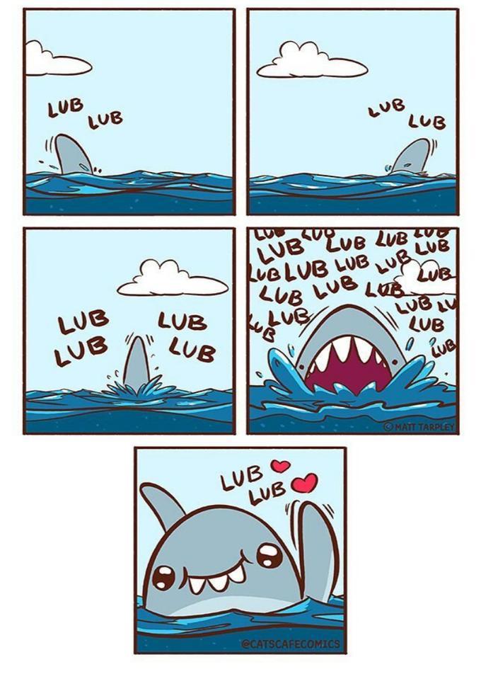 Lub sharks gonna lub. I hope you're feeling well today. - meme