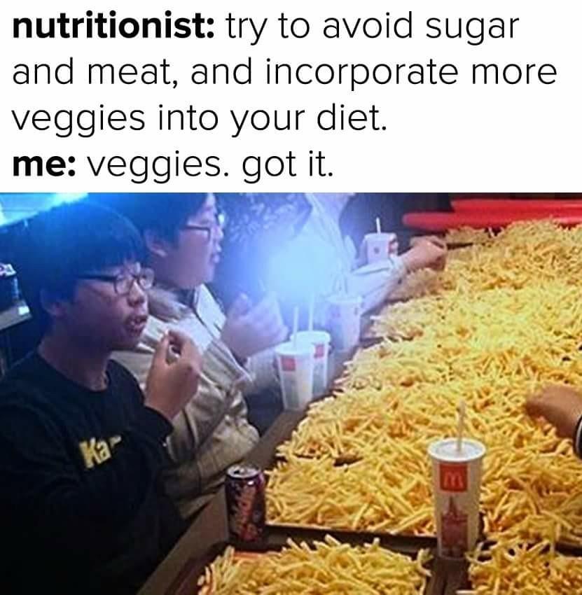 We all love vegan food. - meme