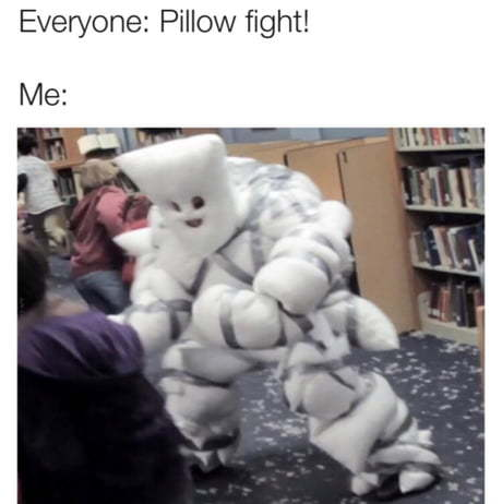 Pillow fights end in a fatality - meme