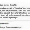 The purge:Seasons Greetings.