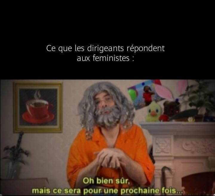 Perso je suis pour la cause feministe - meme
