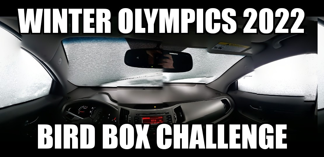 Winter Olympics Bird box challenge - meme