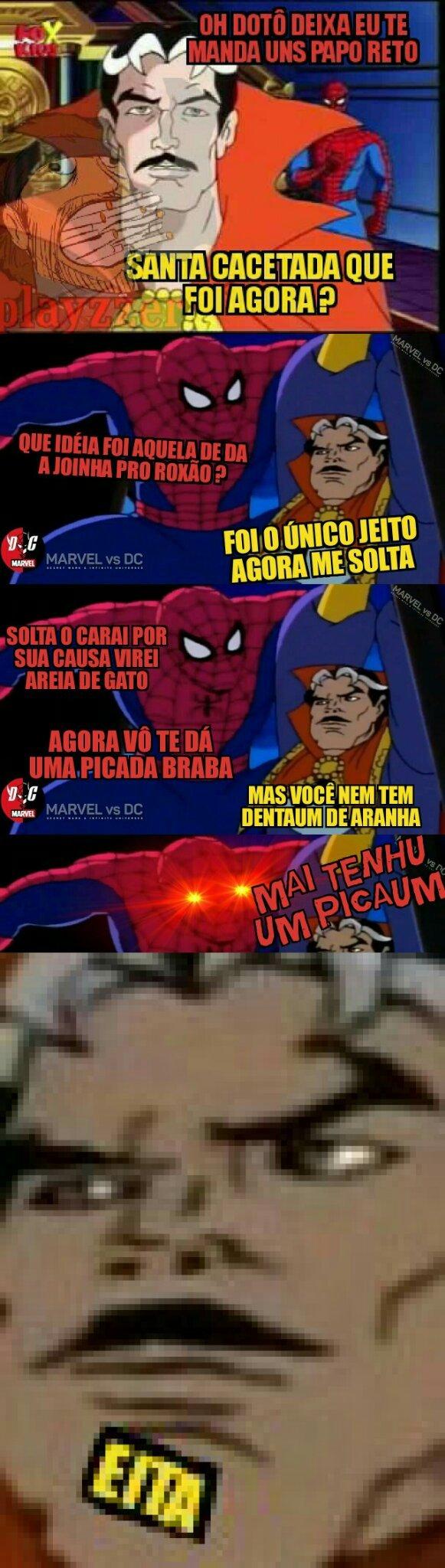 Título com suvaco raspado (Peguei a segunda imagem de fundo do Marvel vs DC mas o meme em si e original)