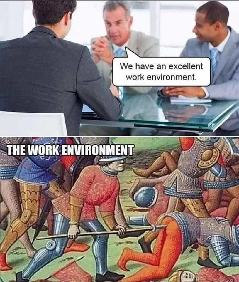 I am sick of coworkers stabbing in the ass - meme
