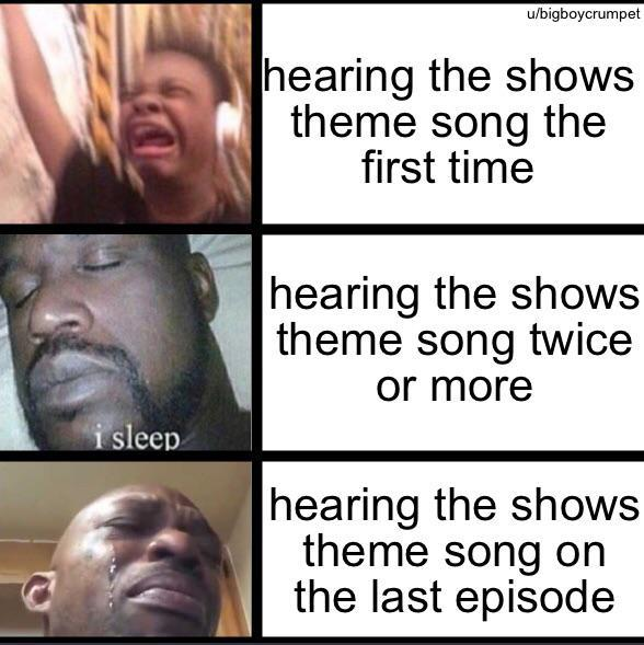 Hearing the shows theme song on the last episode - meme
