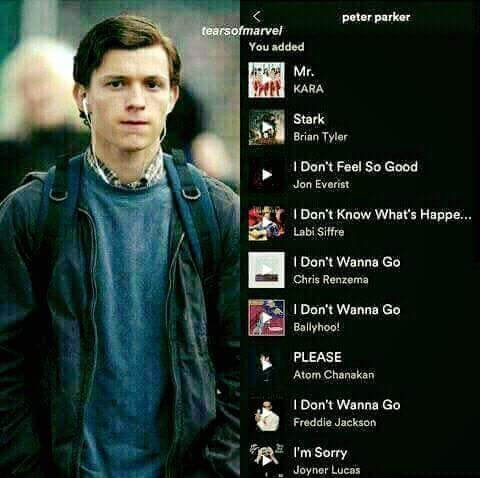 Peter Parker's Spotify list - meme