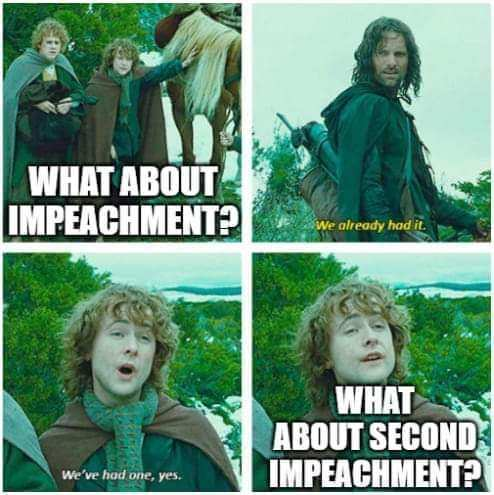 It is peak pettiness to impeach with only days remaining - meme
