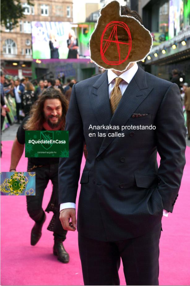 Anarkakas protestando a media pandemia - meme