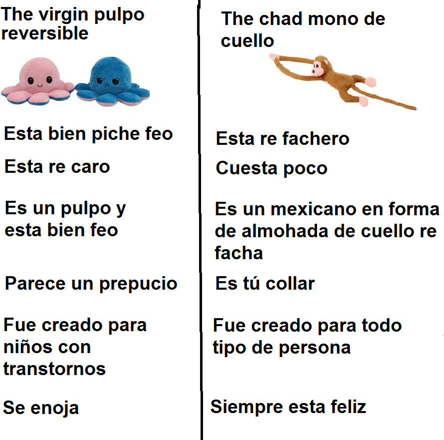 The virgin pulpo reversible vs the chad mono de cuello - meme