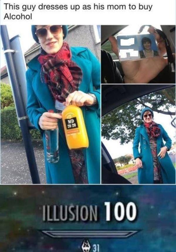 This guy dresses up as his mom to buy alcohol - meme