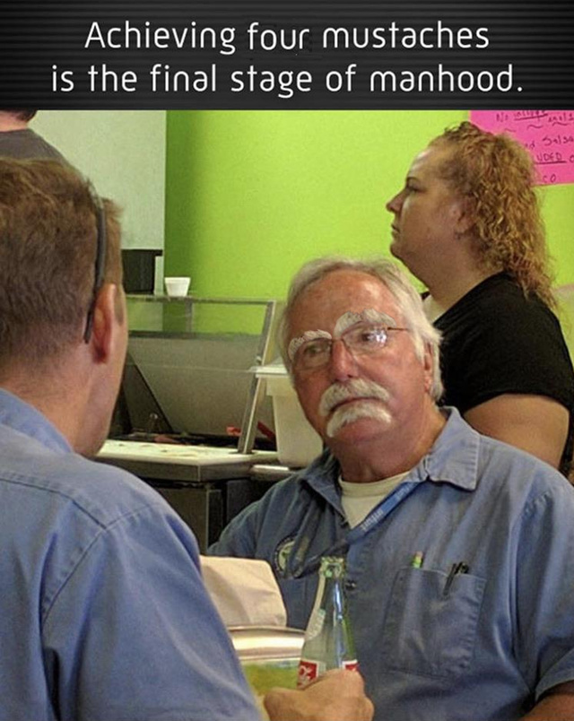 Achieving four mustaches is the final stage of manhood - meme