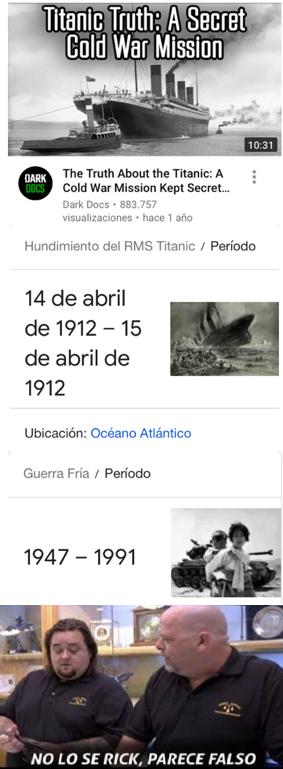 Contexto: el titanic se hundio casi 50 años de la guerra fria - meme