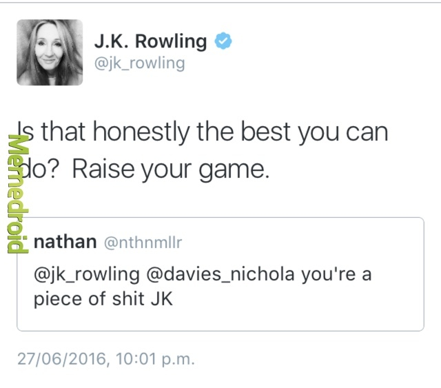 JK Rowling ain't backing down from a duel - meme