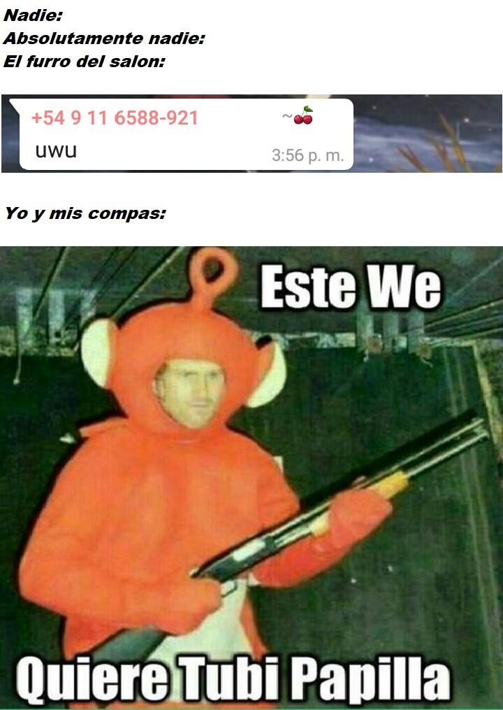 Teletubies con escopeta vs furros - meme