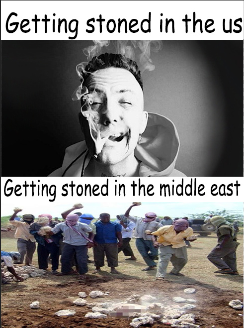 Getting stoned in the middle east - meme