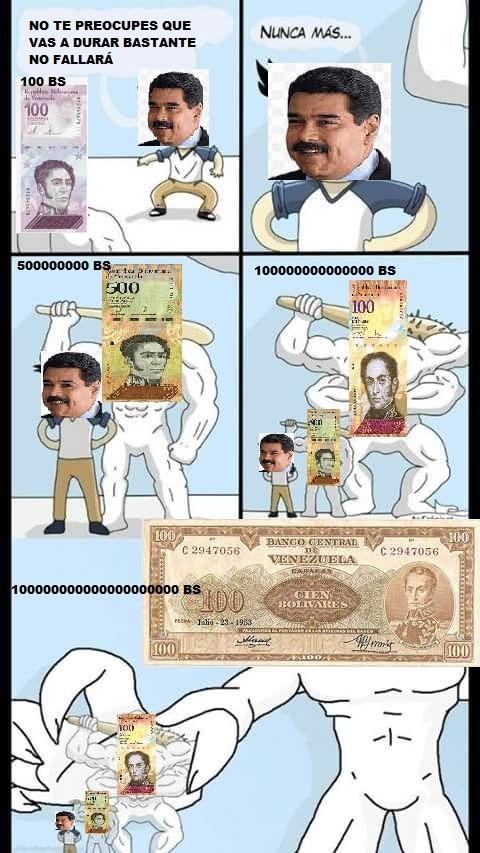 Mi primer meme de lo mierda de la economía en mi país:VENEZUELA (los números de las monedas son el equivalente del bolivar digital)