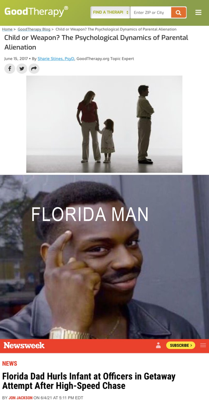 Florida man is the next stage in human evolution. Also from here on out we evolve backwards. - meme