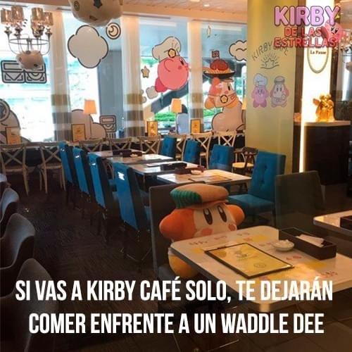 Si, esto le pertenece a Kirby de las estrellas (Facebook) y no sé si alguien ya subió esto, pero quería señalar lo kpos que son los nipones en café kirby con el Chas bandana dee - meme