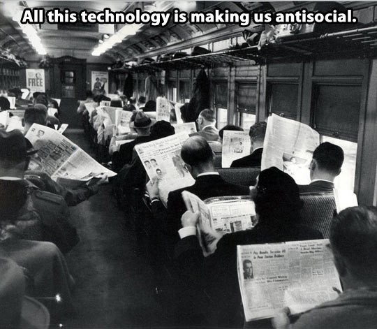 Next time someone says technology is making us anti social, show them this pic - meme