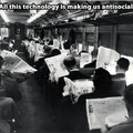 Next time someone says technology is making us anti social, show them this pic