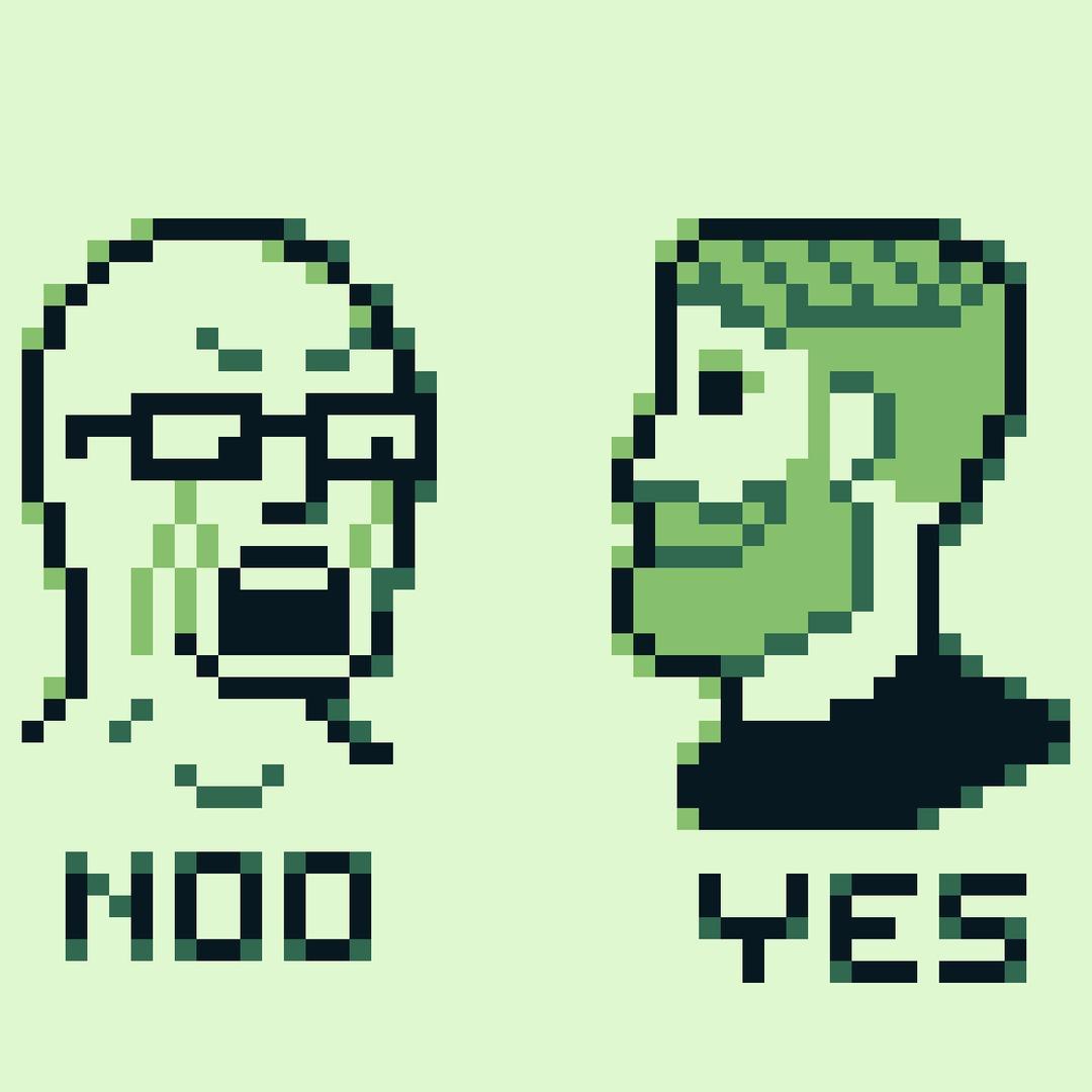 Wojak y Chad en la gameboy - meme