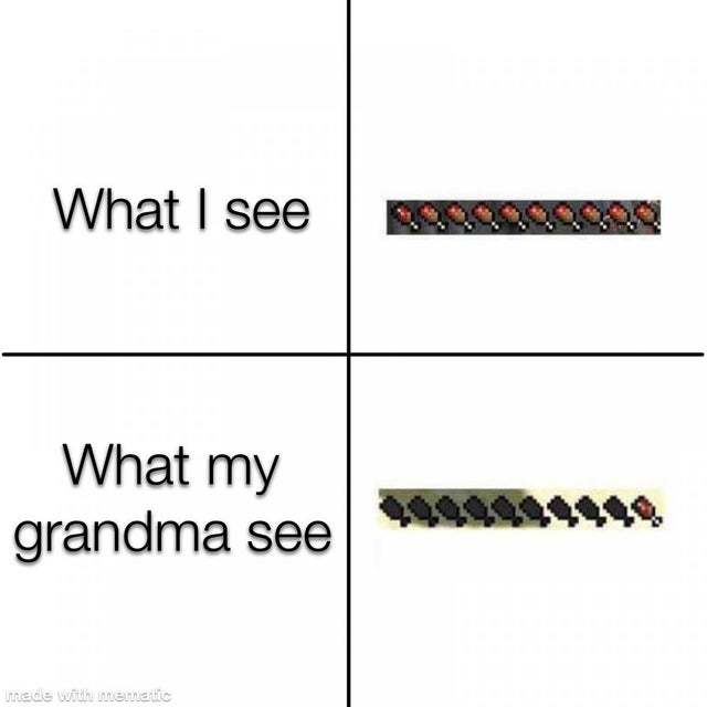 What I see vs what my grandma sees - meme