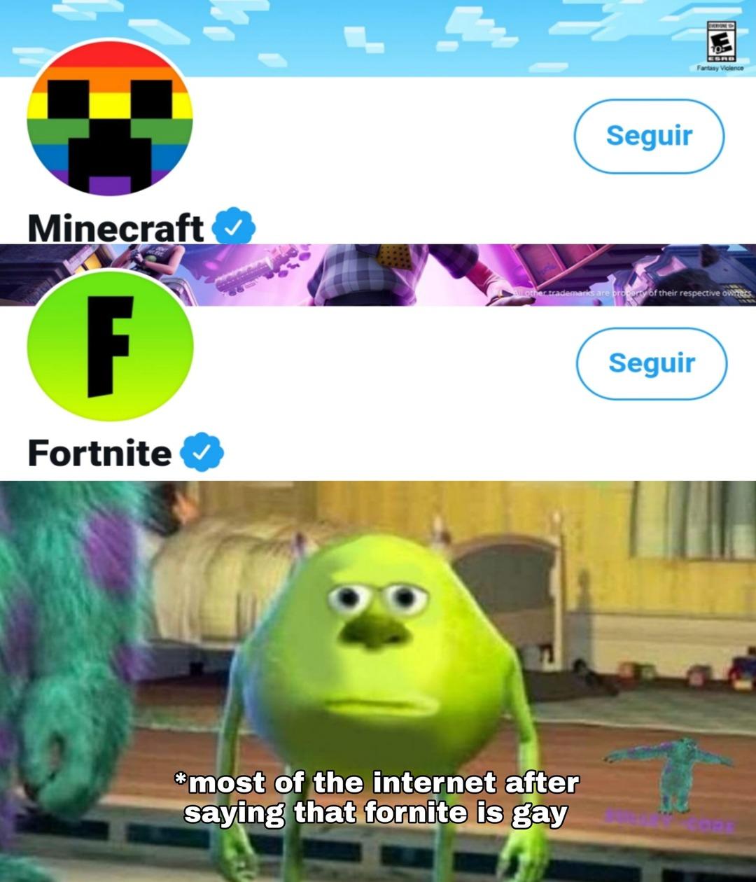 fortnite is cool minecraft is gay - meme
