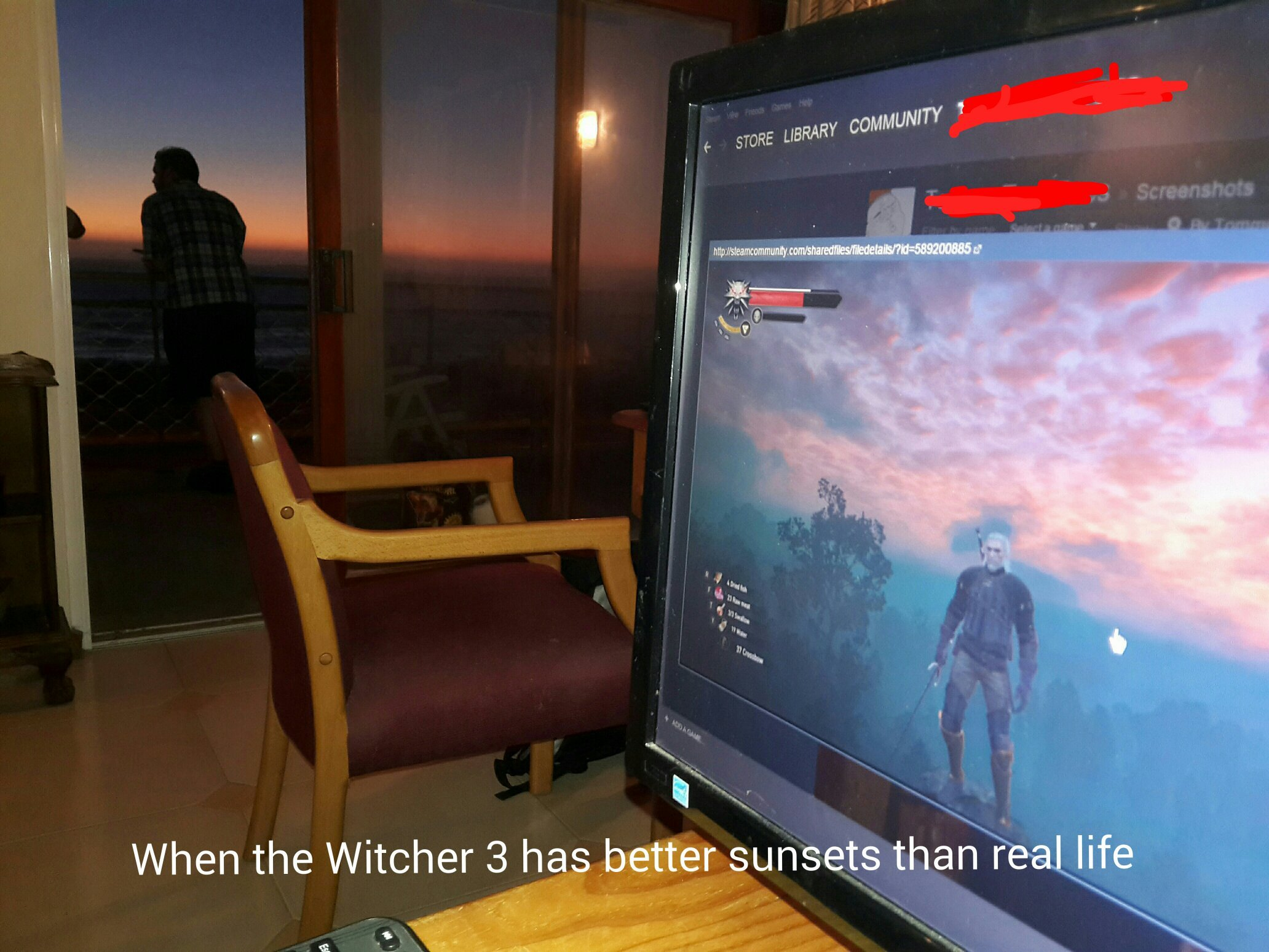Sexy ass graphics....and I guess the sunset outside is nice too...whatever - meme