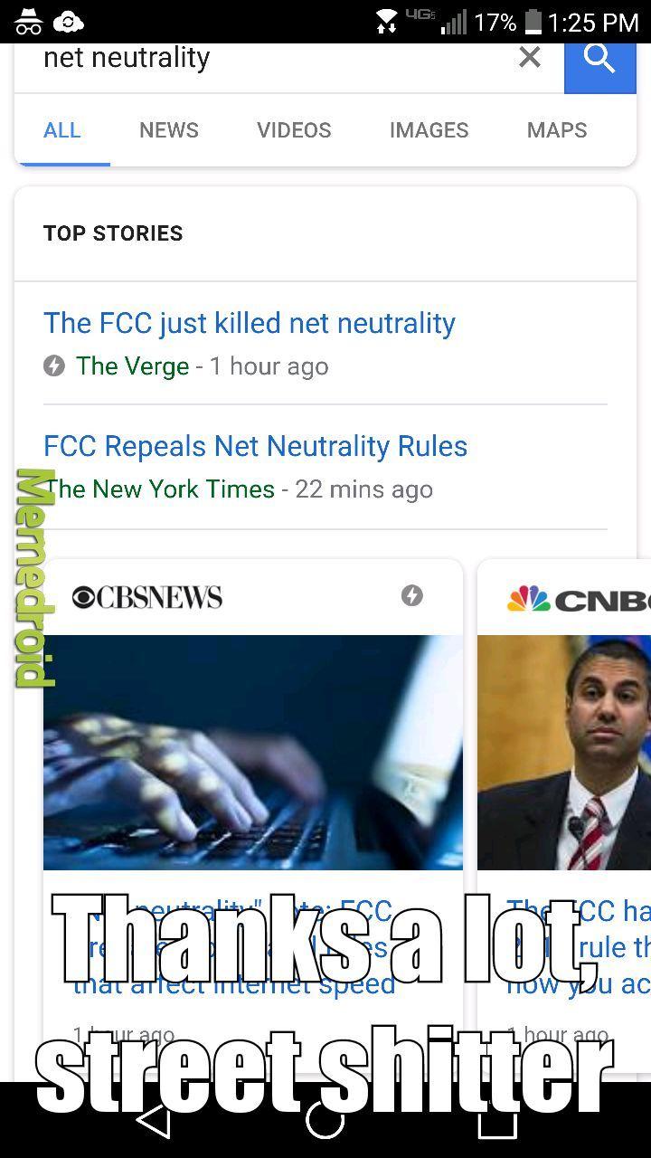 RIP net neutrality - meme