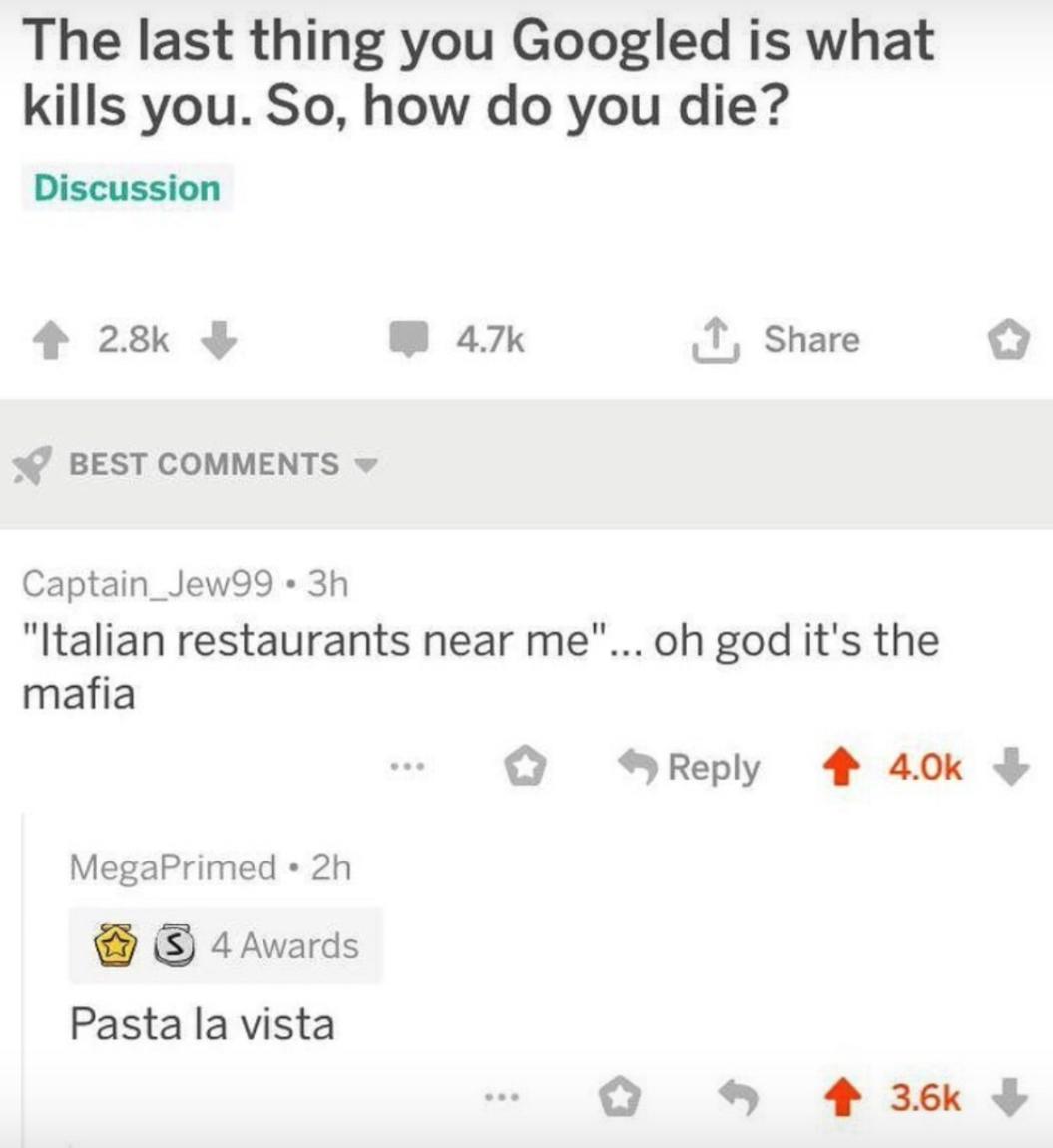 3rd comment is the mafia boss - meme