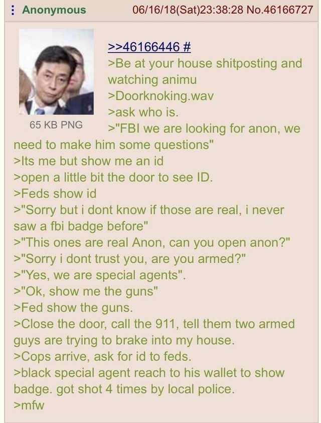 Anon kills a FBI man on accident - meme