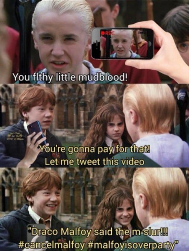 Twitter not allowed in Hogwarts - meme