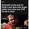 McDonald's worker pays for family's meal when mom forgets wallet