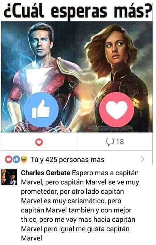 Cual prefieres Captain Marvel o Captain Marvel? - meme