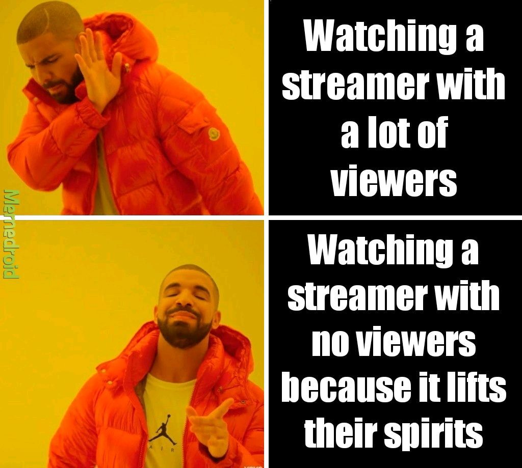 I find that a lot of bigger streamers are bland. They sacrifice their personality to make up for the volume of their viewership. - meme