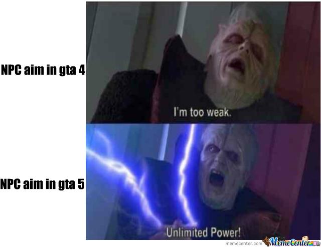 gta 4 vs gta 5 npc aim - meme