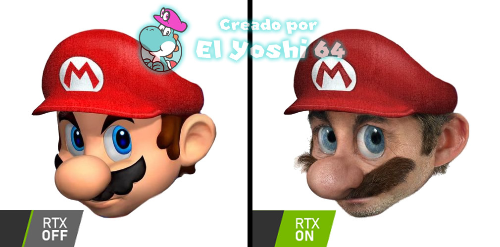 RTX Off = Cara de Mario normal - RTX On = Cara de Mario en la vida real - Para que entiendan - meme