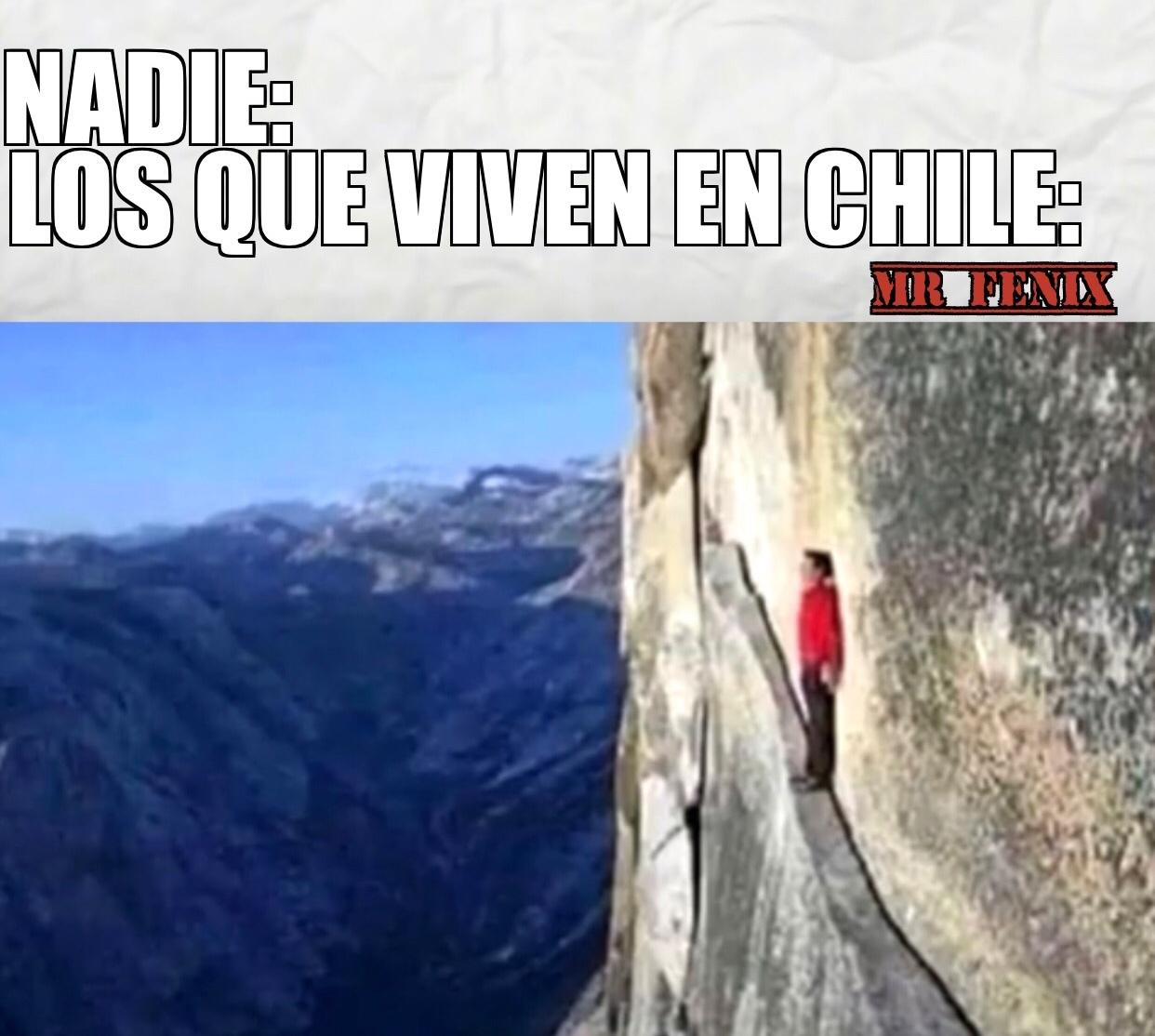 Dato: la parte más ancha de chile es de 445km y la más angosta 90km - meme