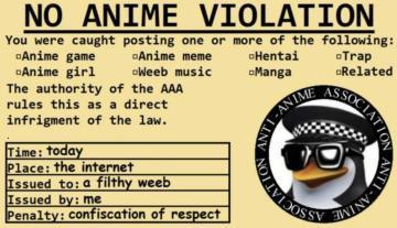 NO ANIME VIOLATIOM - meme