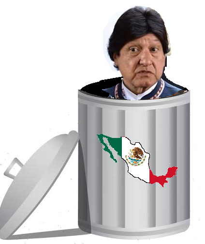 Evo-Amlo bote de basura México - meme