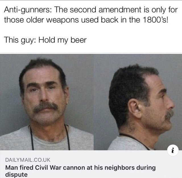 Man fired civil war cannon at his neighbors during dispute - meme